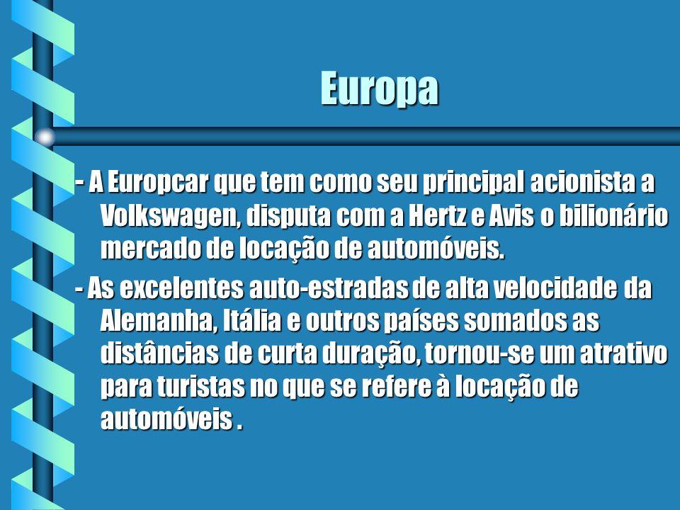 Europa - A Europcar que tem como seu principal acionista a Volkswagen, disputa com a Hertz e Avis o bilionário mercado de locação de automóveis. - As