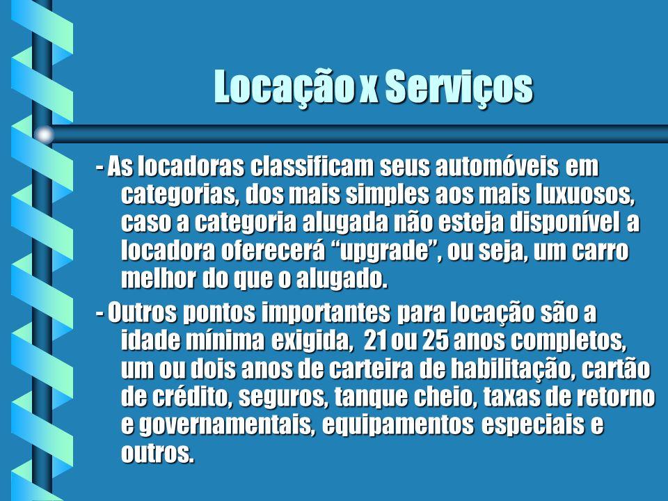 Locação x Serviços - As locadoras classificam seus automóveis em categorias, dos mais simples aos mais luxuosos, caso a categoria alugada não esteja d
