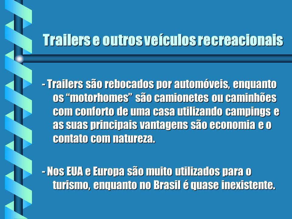 Trailers e outros veículos recreacionais - Trailers são rebocados por automóveis, enquanto os motorhomes são camionetes ou caminhões com conforto de u