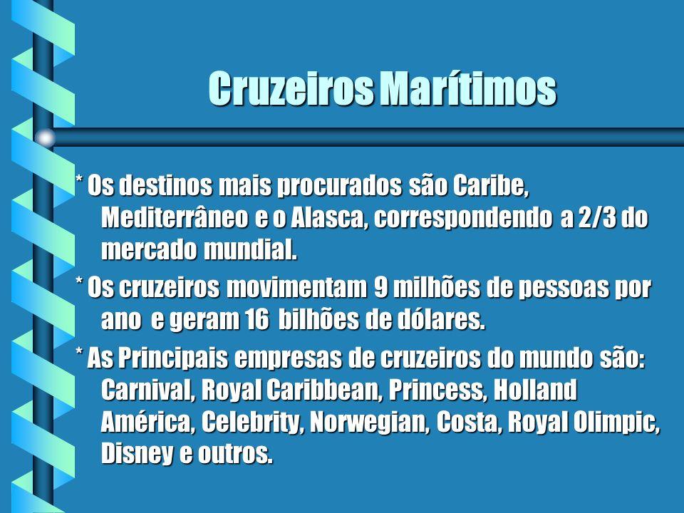 Cruzeiros Marítimos * Os destinos mais procurados são Caribe, Mediterrâneo e o Alasca, correspondendo a 2/3 do mercado mundial. * Os cruzeiros movimen