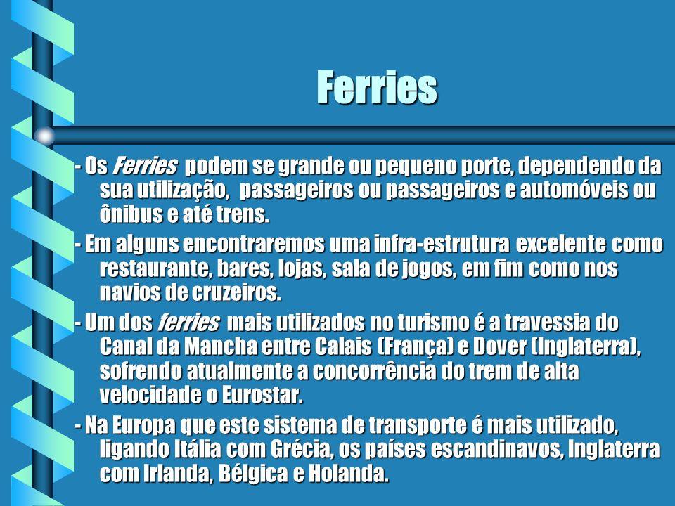 Ferries - Os Ferries podem se grande ou pequeno porte, dependendo da sua utilização, passageiros ou passageiros e automóveis ou ônibus e até trens. -