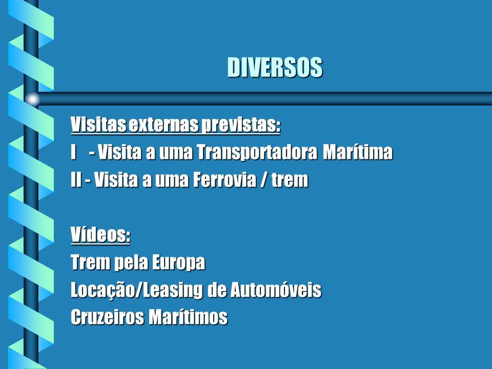 DIVERSOS Visitas externas previstas: I - Visita a uma Transportadora Marítima II - Visita a uma Ferrovia / trem Vídeos: Trem pela Europa Locação/Leasi