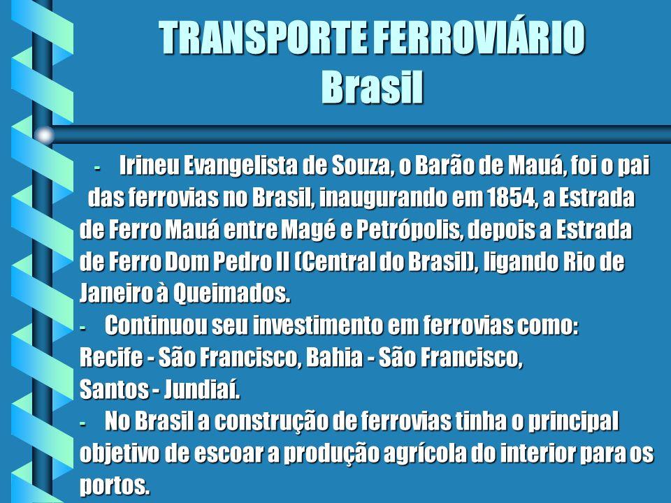 TRANSPORTE FERROVIÁRIO Brasil - Irineu Evangelista de Souza, o Barão de Mauá, foi o pai das ferrovias no Brasil, inaugurando em 1854, a Estrada das fe