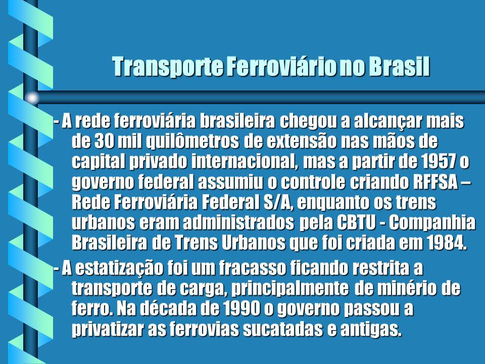 Transporte Ferroviário no Brasil - A rede ferroviária brasileira chegou a alcançar mais de 30 mil quilômetros de extensão nas mãos de capital privado