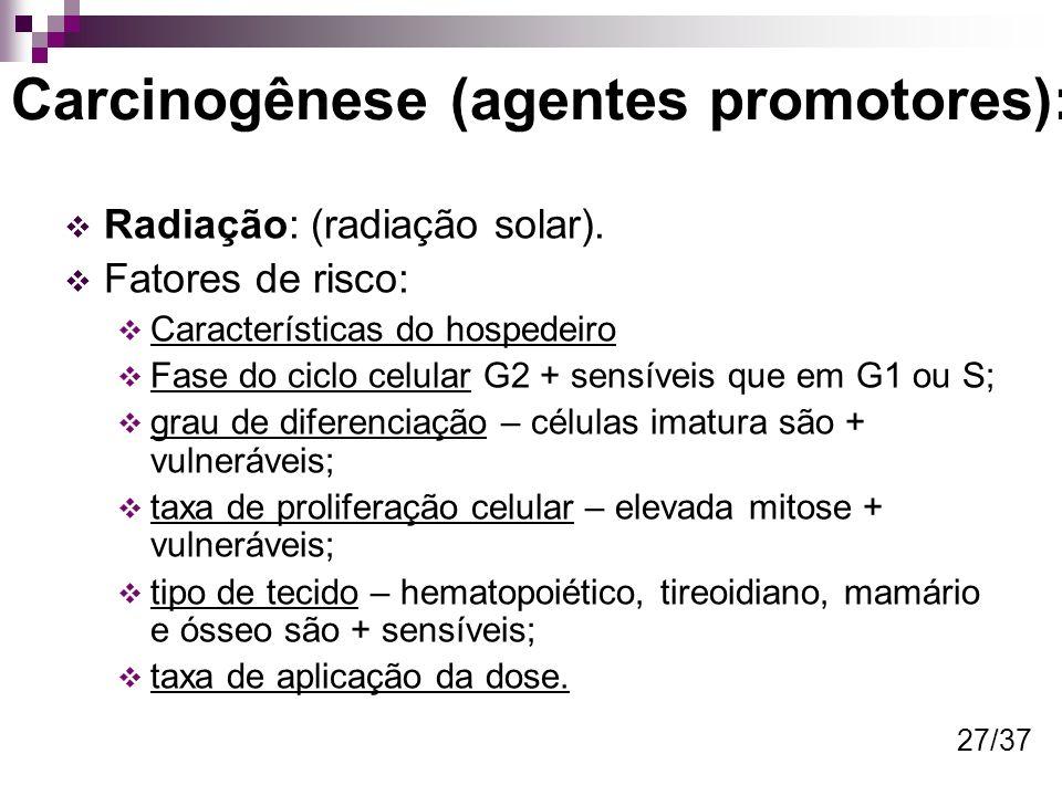 Carcinogênese (agentes promotores): Radiação: (radiação solar). Fatores de risco: Características do hospedeiro Fase do ciclo celular G2 + sensíveis q