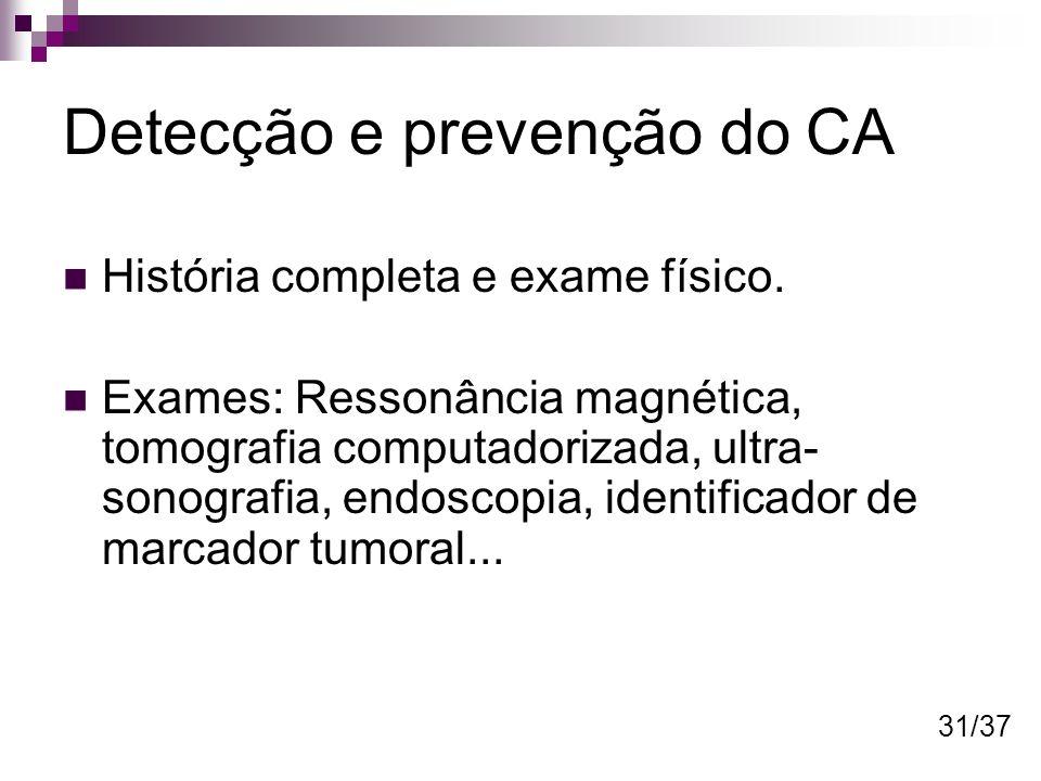 Detecção e prevenção do CA História completa e exame físico. Exames: Ressonância magnética, tomografia computadorizada, ultra- sonografia, endoscopia,