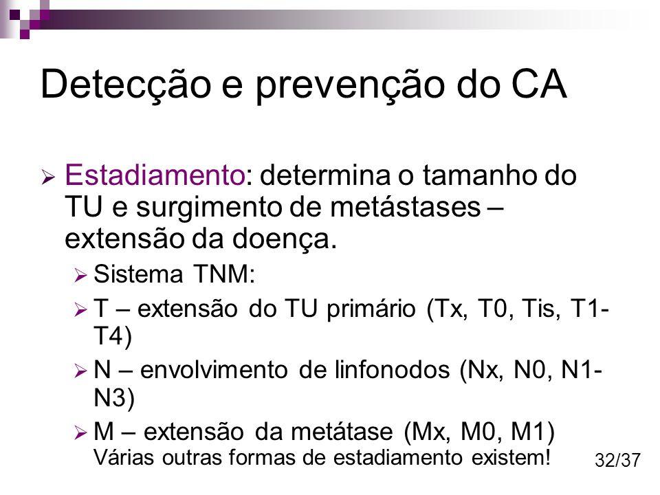 Detecção e prevenção do CA Estadiamento: determina o tamanho do TU e surgimento de metástases – extensão da doença. Sistema TNM: T – extensão do TU pr