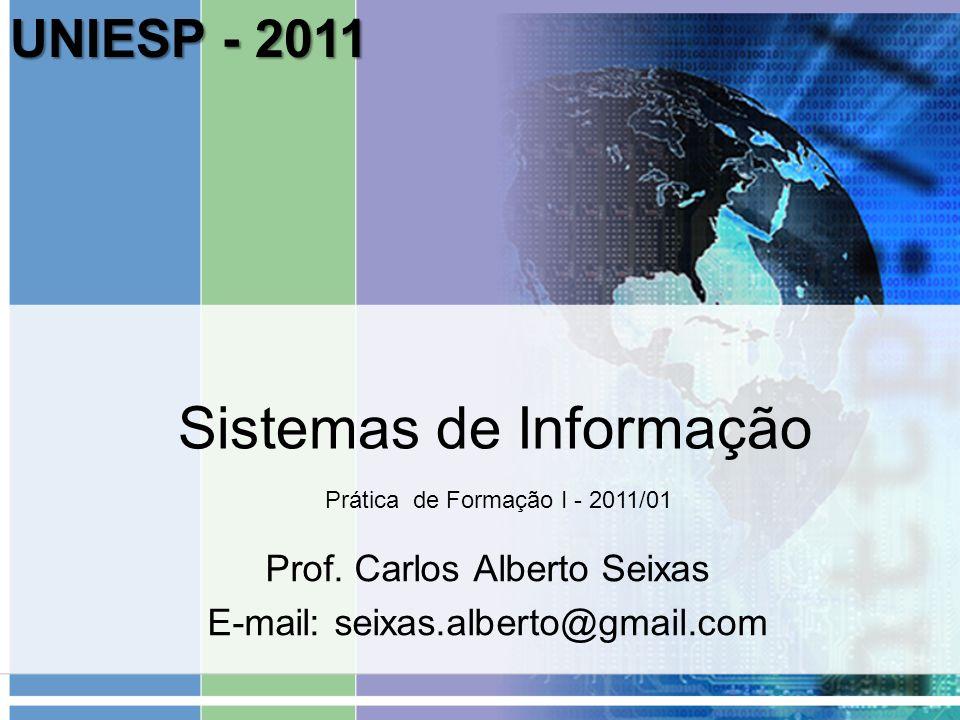 Sistemas de Informação Prof. Carlos Alberto Seixas E-mail: seixas.alberto@gmail.com Prática de Formação I - 2011/01 UNIESP - 2011