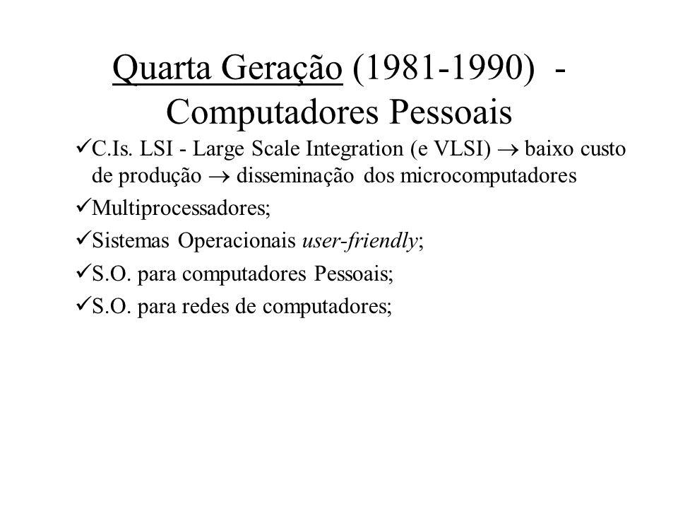 Quarta Geração (1981-1990) - Computadores Pessoais C.Is. LSI - Large Scale Integration (e VLSI) baixo custo de produção disseminação dos microcomputad