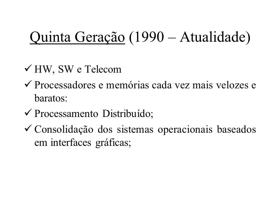 Quinta Geração (1990 – Atualidade) HW, SW e Telecom Processadores e memórias cada vez mais velozes e baratos: Processamento Distribuído; Consolidação