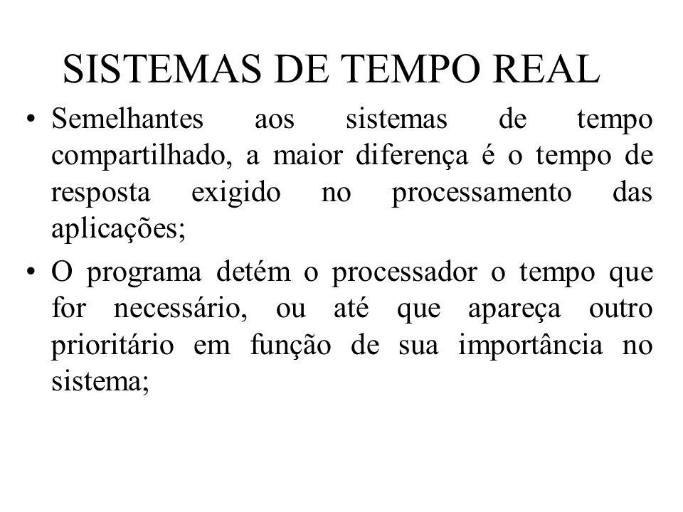 SISTEMAS DE TEMPO REAL Semelhantes aos sistemas de tempo compartilhado, a maior diferença é o tempo de resposta exigido no processamento das aplicaçõe