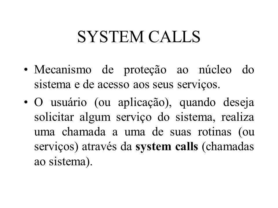 SYSTEM CALLS Mecanismo de proteção ao núcleo do sistema e de acesso aos seus serviços. O usuário (ou aplicação), quando deseja solicitar algum serviço
