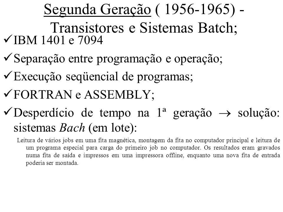 Segunda Geração ( 1956-1965) - Transistores e Sistemas Batch; IBM 1401 e 7094 Separação entre programação e operação; Execução seqüencial de programas