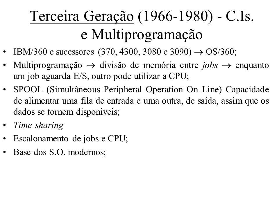 Terceira Geração (1966-1980) - C.Is. e Multiprogramação IBM/360 e sucessores (370, 4300, 3080 e 3090) OS/360; Multiprogramação divisão de memória entr