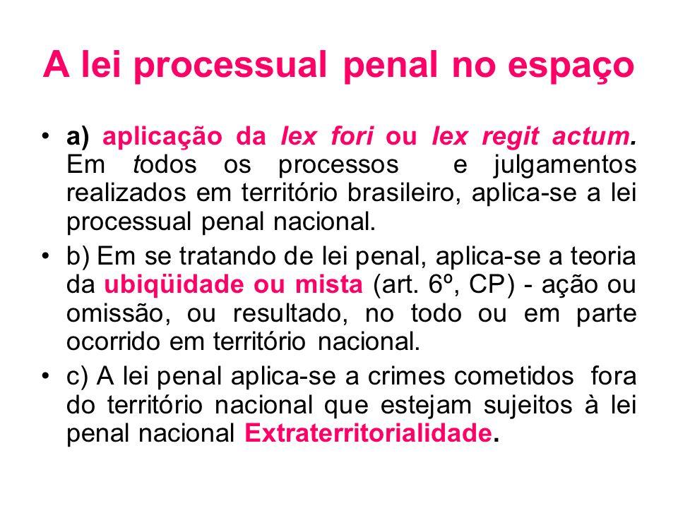 A lei processual penal no espaço a) aplicação da lex fori ou lex regit actum. Em todos os processos e julgamentos realizados em território brasileiro,