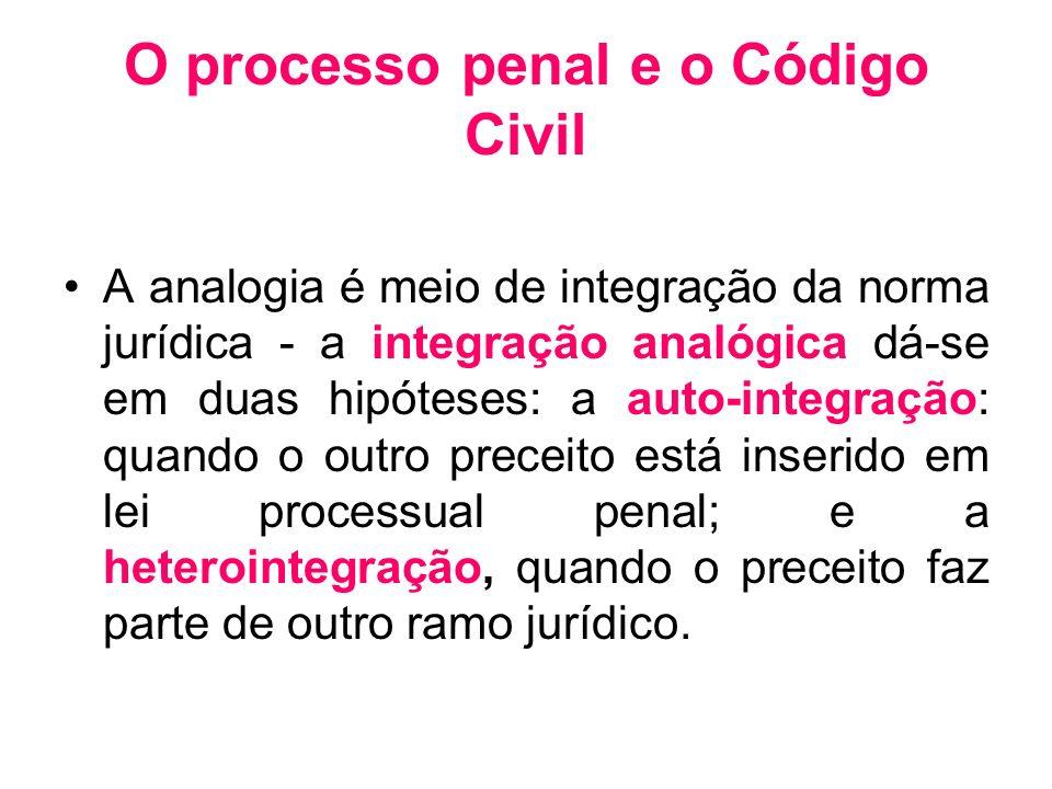 O processo penal e o Código Civil A analogia é meio de integração da norma jurídica - a integração analógica dá-se em duas hipóteses: a auto-integraçã