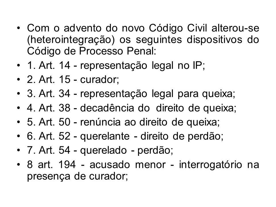 Com o advento do novo Código Civil alterou-se (heterointegração) os seguintes dispositivos do Código de Processo Penal: 1. Art. 14 - representação leg