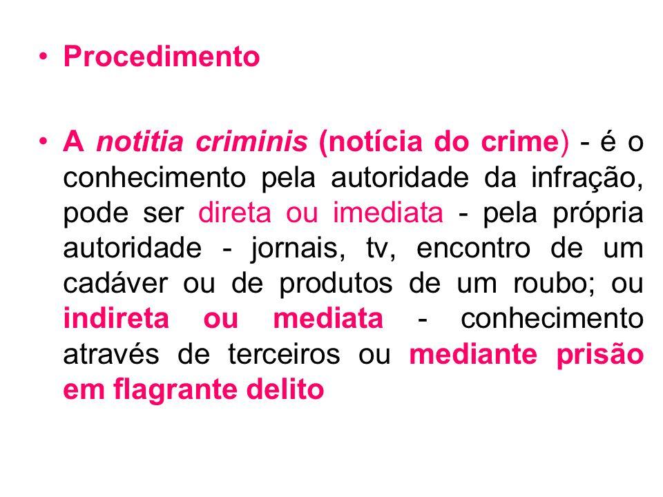 Procedimento A notitia criminis (notícia do crime) - é o conhecimento pela autoridade da infração, pode ser direta ou imediata - pela própria autorida