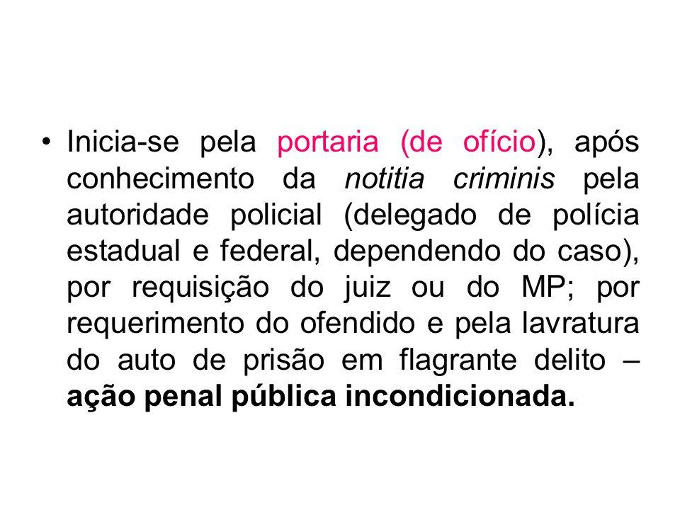 Inicia-se pela portaria (de ofício), após conhecimento da notitia criminis pela autoridade policial (delegado de polícia estadual e federal, dependend