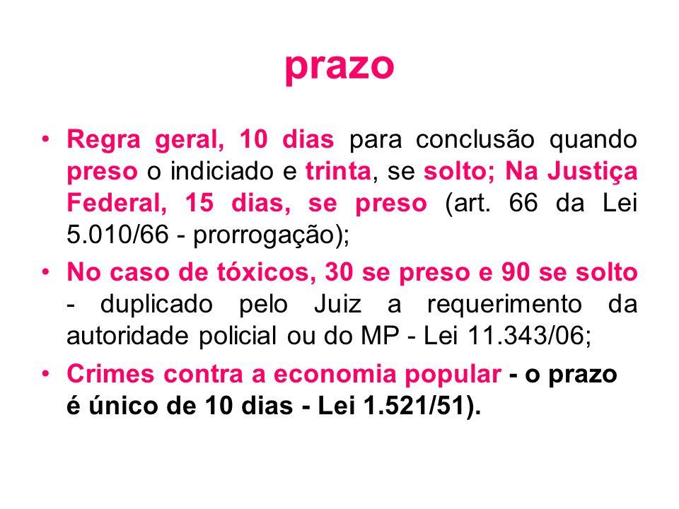 prazo Regra geral, 10 dias para conclusão quando preso o indiciado e trinta, se solto; Na Justiça Federal, 15 dias, se preso (art. 66 da Lei 5.010/66