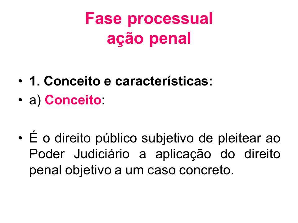 Fase processual ação penal 1. Conceito e características: a) Conceito: É o direito público subjetivo de pleitear ao Poder Judiciário a aplicação do di