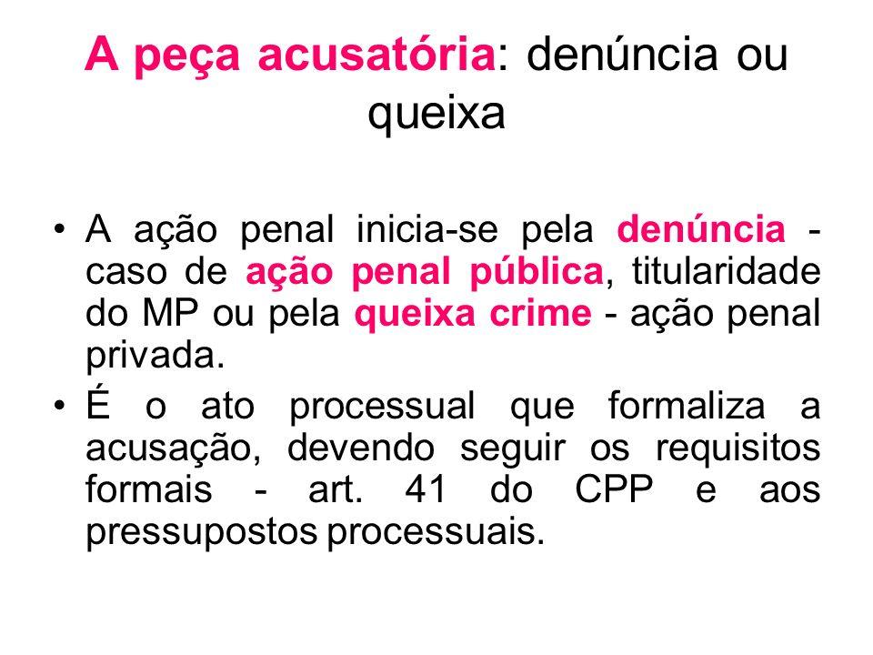 A peça acusatória: denúncia ou queixa A ação penal inicia-se pela denúncia - caso de ação penal pública, titularidade do MP ou pela queixa crime - açã