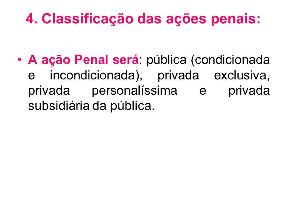4. Classificação das ações penais: A ação Penal será: pública (condicionada e incondicionada), privada exclusiva, privada personalíssima e privada sub