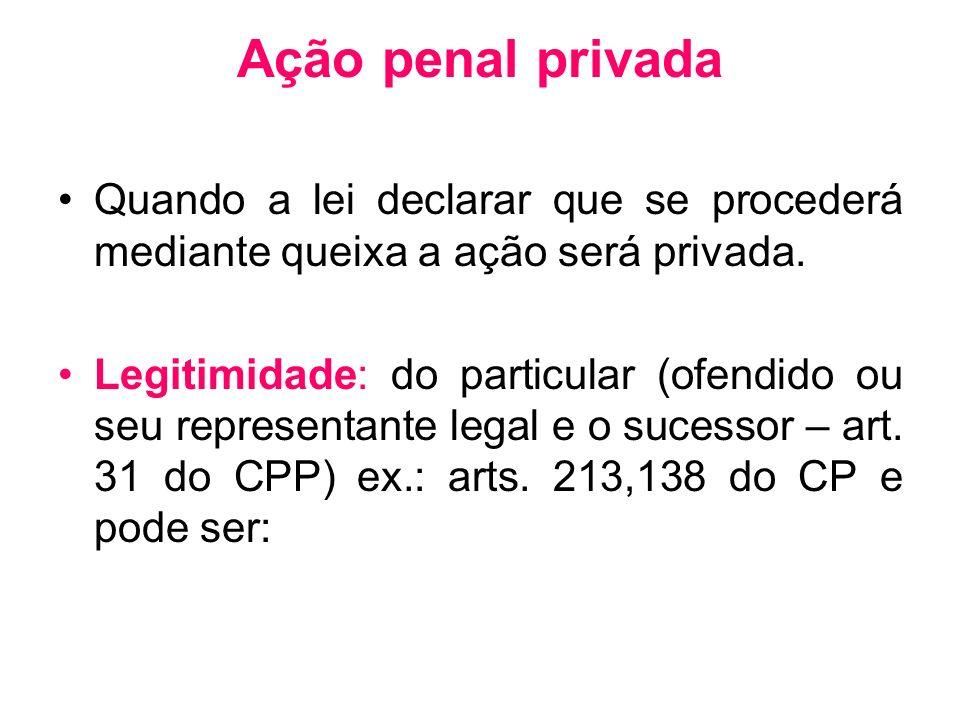 Ação penal privada Quando a lei declarar que se procederá mediante queixa a ação será privada. Legitimidade: do particular (ofendido ou seu representa