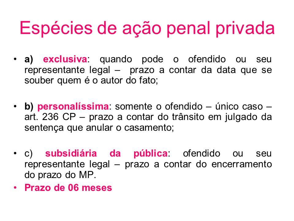 Espécies de ação penal privada a) exclusiva: quando pode o ofendido ou seu representante legal – prazo a contar da data que se souber quem é o autor d
