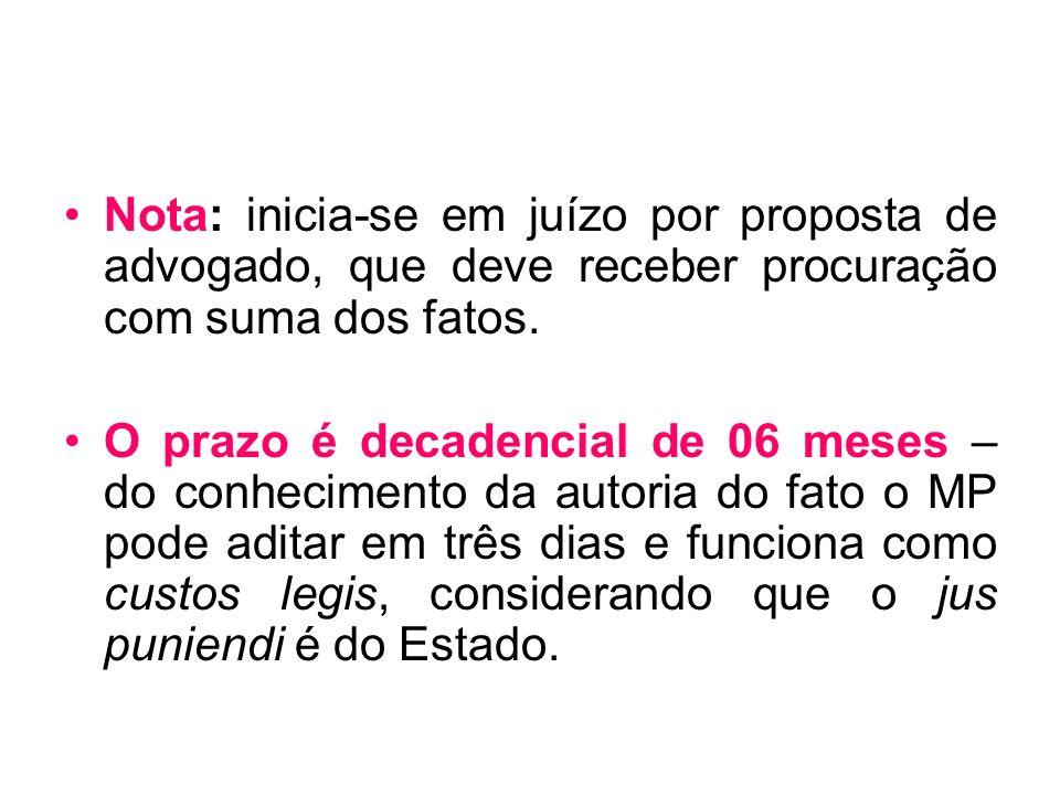 Nota: inicia-se em juízo por proposta de advogado, que deve receber procuração com suma dos fatos. O prazo é decadencial de 06 meses – do conhecimento