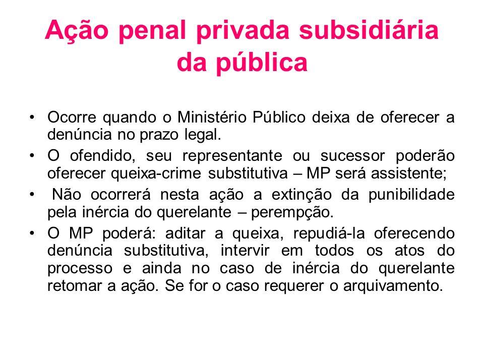 Ação penal privada subsidiária da pública Ocorre quando o Ministério Público deixa de oferecer a denúncia no prazo legal. O ofendido, seu representant