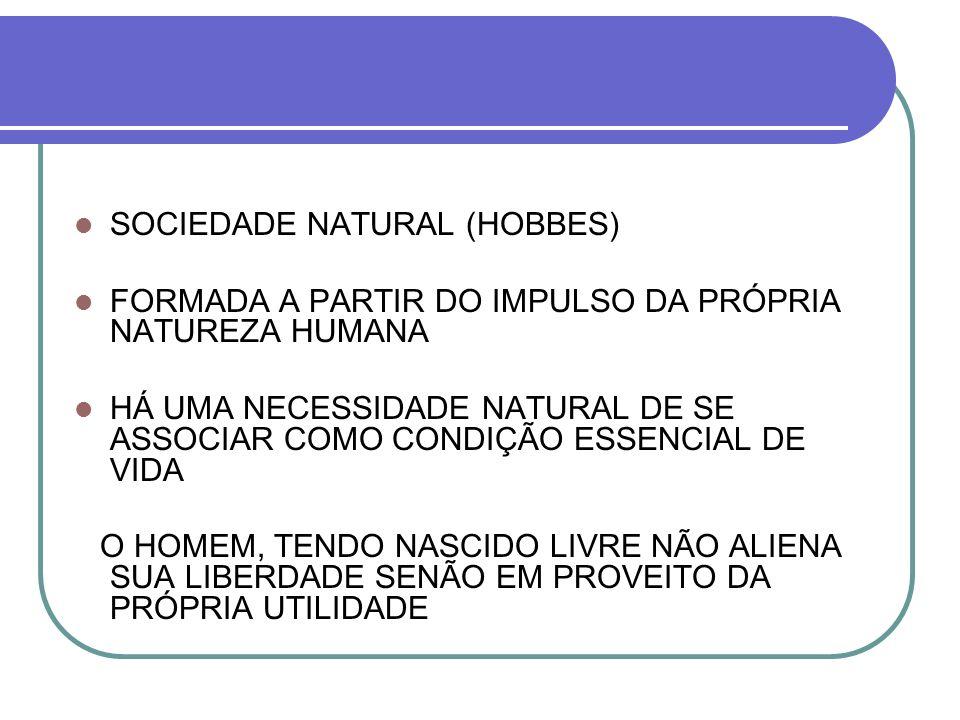 SOCIEDADE NATURAL (HOBBES) FORMADA A PARTIR DO IMPULSO DA PRÓPRIA NATUREZA HUMANA HÁ UMA NECESSIDADE NATURAL DE SE ASSOCIAR COMO CONDIÇÃO ESSENCIAL DE