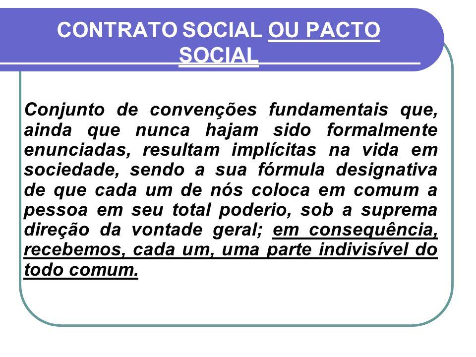 CONTRATO SOCIAL OU PACTO SOCIAL Conjunto de convenções fundamentais que, ainda que nunca hajam sido formalmente enunciadas, resultam implícitas na vid