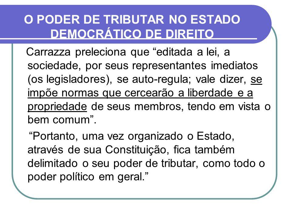 O PODER DE TRIBUTAR NO ESTADO DEMOCRÁTICO DE DIREITO Carrazza preleciona que editada a lei, a sociedade, por seus representantes imediatos (os legisla
