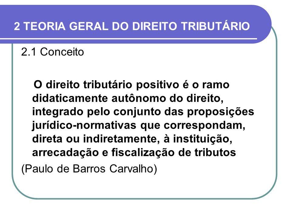 2 TEORIA GERAL DO DIREITO TRIBUTÁRIO 2.1 Conceito O direito tributário positivo é o ramo didaticamente autônomo do direito, integrado pelo conjunto da