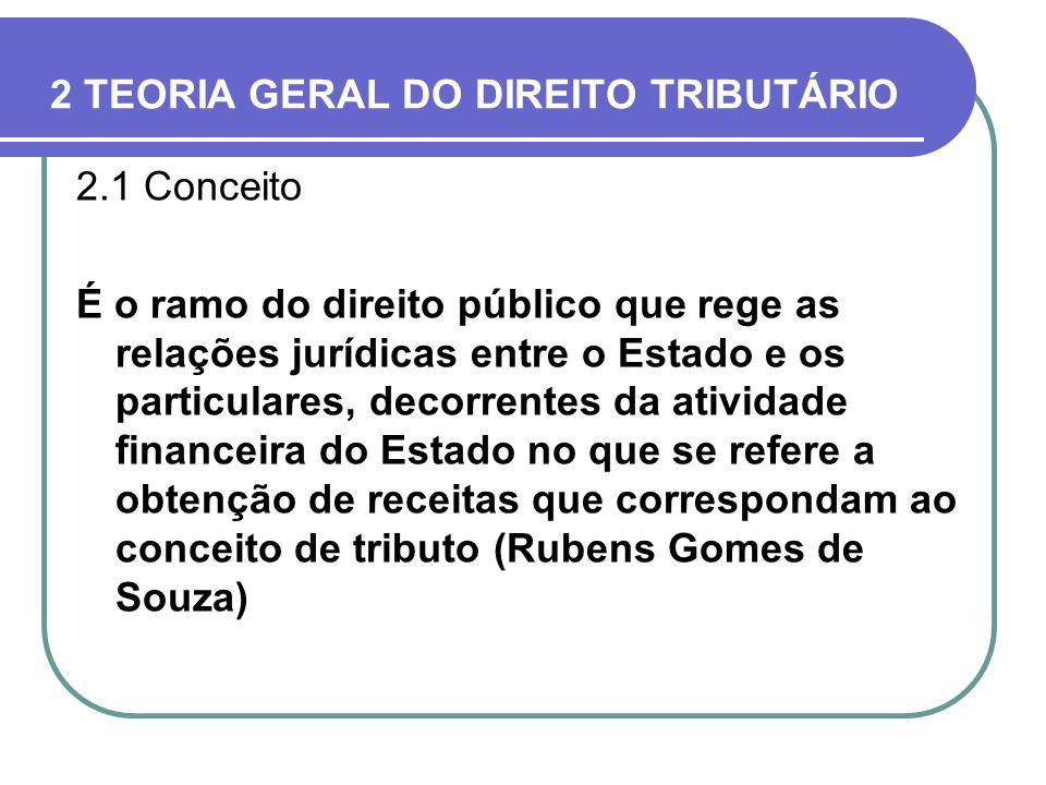 2 TEORIA GERAL DO DIREITO TRIBUTÁRIO 2.1 Conceito É o ramo do direito público que rege as relações jurídicas entre o Estado e os particulares, decorre