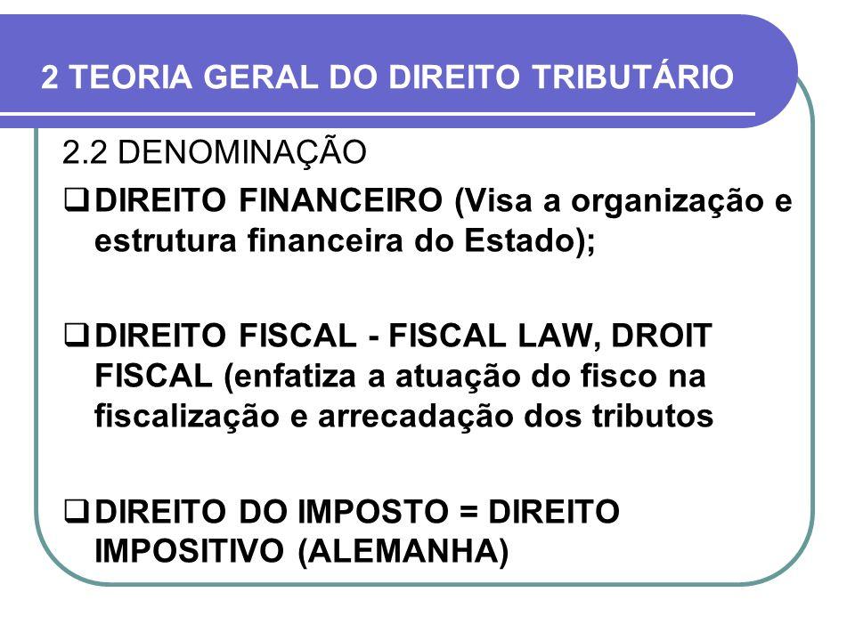 2 TEORIA GERAL DO DIREITO TRIBUTÁRIO 2.2 DENOMINAÇÃO DIREITO FINANCEIRO (Visa a organização e estrutura financeira do Estado); DIREITO FISCAL - FISCAL