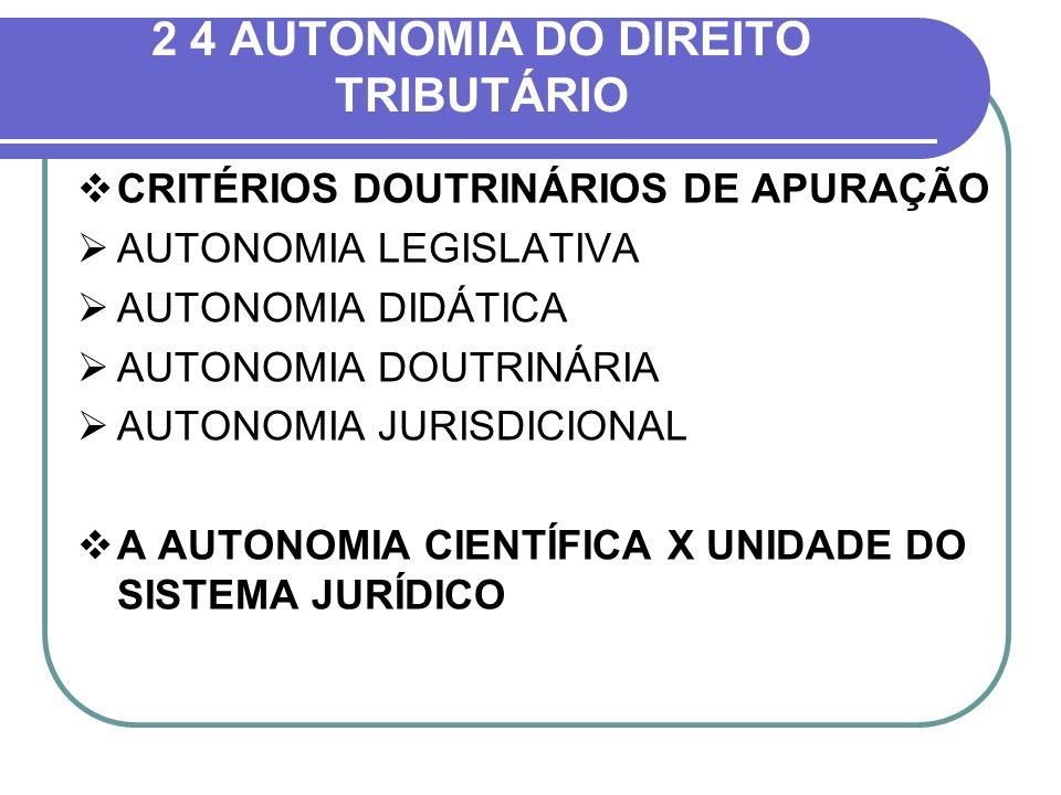 2 4 AUTONOMIA DO DIREITO TRIBUTÁRIO CRITÉRIOS DOUTRINÁRIOS DE APURAÇÃO AUTONOMIA LEGISLATIVA AUTONOMIA DIDÁTICA AUTONOMIA DOUTRINÁRIA AUTONOMIA JURISD
