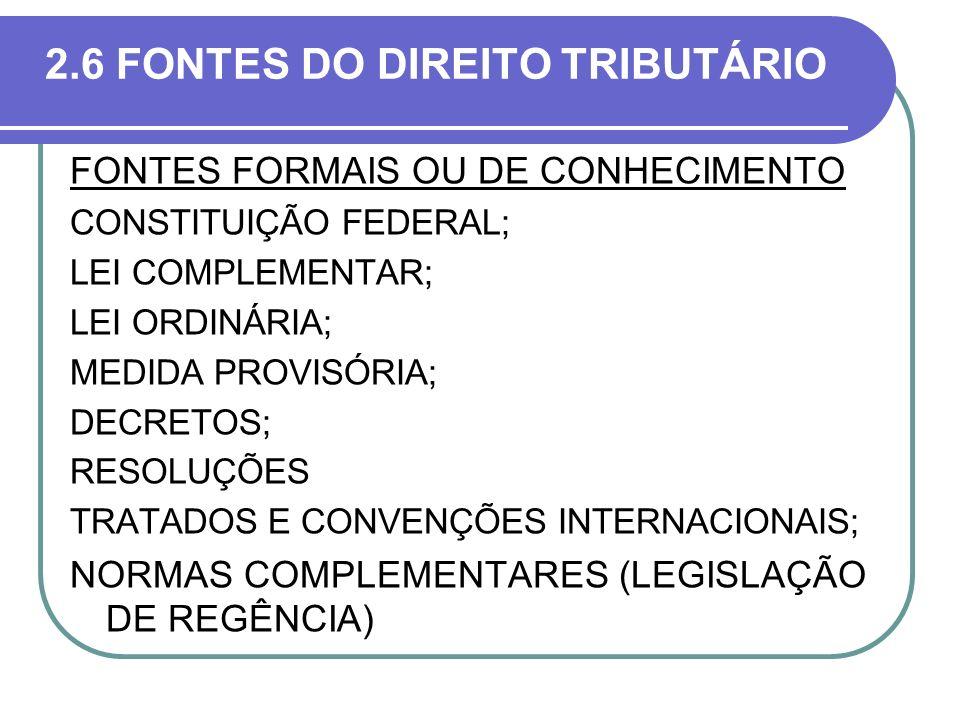 2.6 FONTES DO DIREITO TRIBUTÁRIO FONTES FORMAIS OU DE CONHECIMENTO CONSTITUIÇÃO FEDERAL; LEI COMPLEMENTAR; LEI ORDINÁRIA; MEDIDA PROVISÓRIA; DECRETOS;
