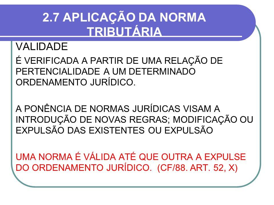 2.7 APLICAÇÃO DA NORMA TRIBUTÁRIA VALIDADE É VERIFICADA A PARTIR DE UMA RELAÇÃO DE PERTENCIALIDADE A UM DETERMINADO ORDENAMENTO JURÍDICO. A PONÊNCIA D