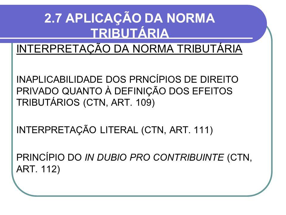2.7 APLICAÇÃO DA NORMA TRIBUTÁRIA INTERPRETAÇÃO DA NORMA TRIBUTÁRIA INAPLICABILIDADE DOS PRNCÍPIOS DE DIREITO PRIVADO QUANTO À DEFINIÇÃO DOS EFEITOS T