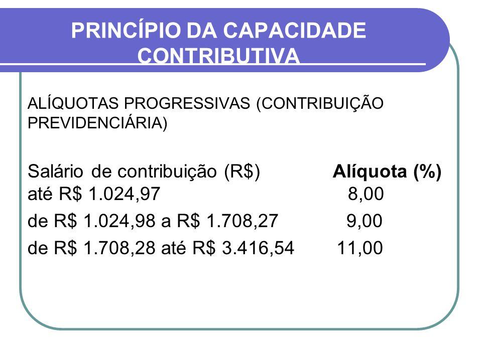 PRINCÍPIO DA CAPACIDADE CONTRIBUTIVA ALÍQUOTAS PROGRESSIVAS (CONTRIBUIÇÃO PREVIDENCIÁRIA) Salário de contribuição (R$) Alíquota (%) até R$ 1.024,97 8,