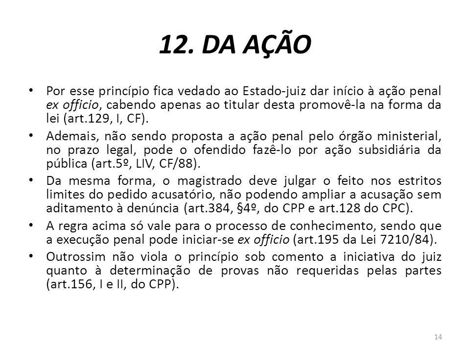12. DA AÇÃO Por esse princípio fica vedado ao Estado-juiz dar início à ação penal ex officio, cabendo apenas ao titular desta promovê-la na forma da l