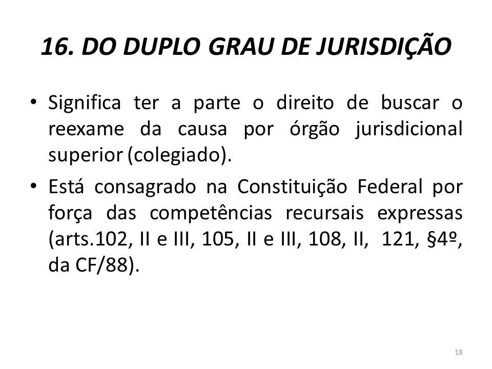 16. DO DUPLO GRAU DE JURISDIÇÃO Significa ter a parte o direito de buscar o reexame da causa por órgão jurisdicional superior (colegiado). Está consag