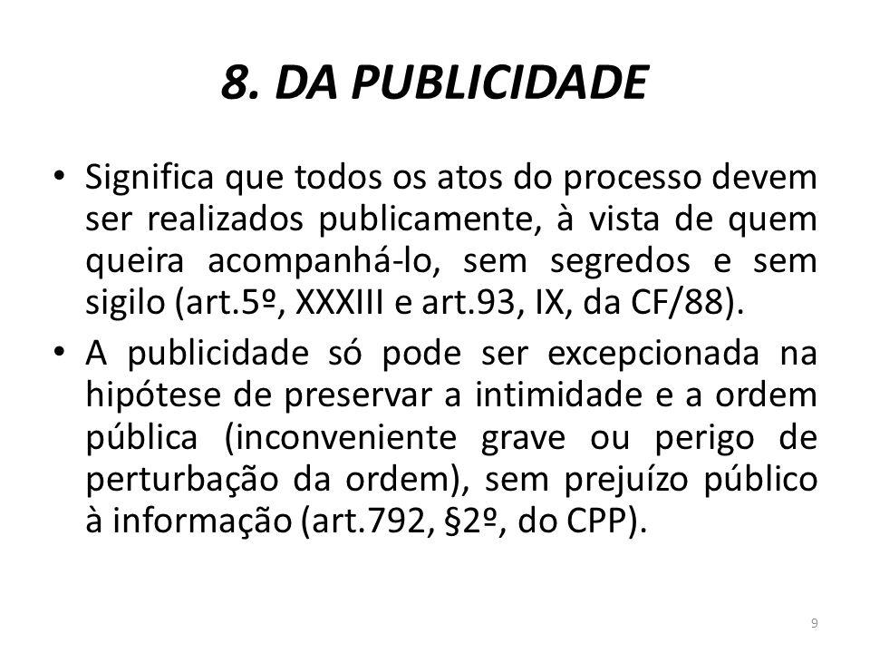 8. DA PUBLICIDADE Significa que todos os atos do processo devem ser realizados publicamente, à vista de quem queira acompanhá-lo, sem segredos e sem s