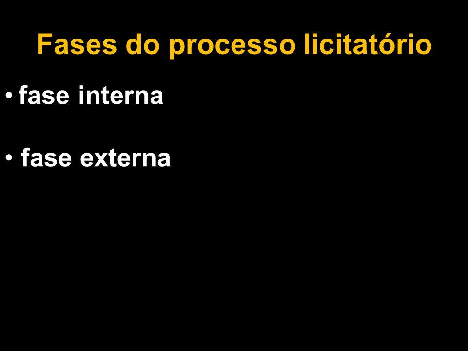 Fases do processo licitatório fase interna fase externa