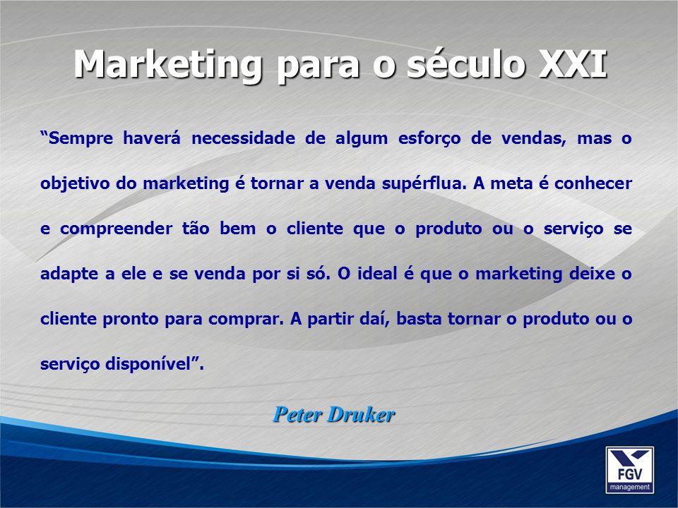 Sempre haverá necessidade de algum esforço de vendas, mas o objetivo do marketing é tornar a venda supérflua. A meta é conhecer e compreender tão bem