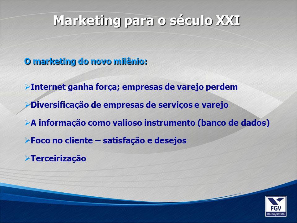 O marketing do novo milênio: Internet ganha força; empresas de varejo perdem Diversificação de empresas de serviços e varejo A informação como valioso