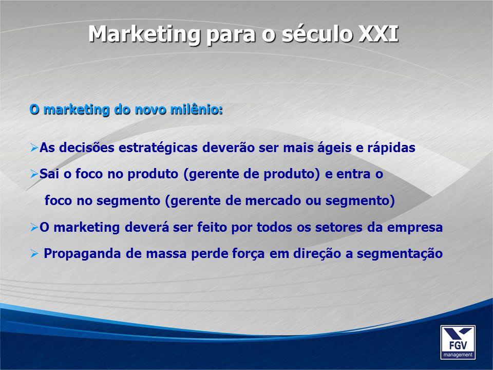 O marketing do novo milênio: As decisões estratégicas deverão ser mais ágeis e rápidas Sai o foco no produto (gerente de produto) e entra o foco no se
