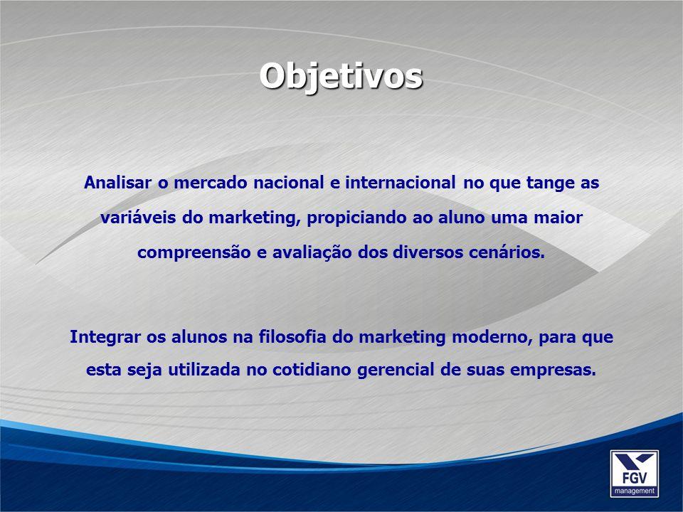 Analisar o mercado nacional e internacional no que tange as variáveis do marketing, propiciando ao aluno uma maior compreensão e avaliação dos diverso